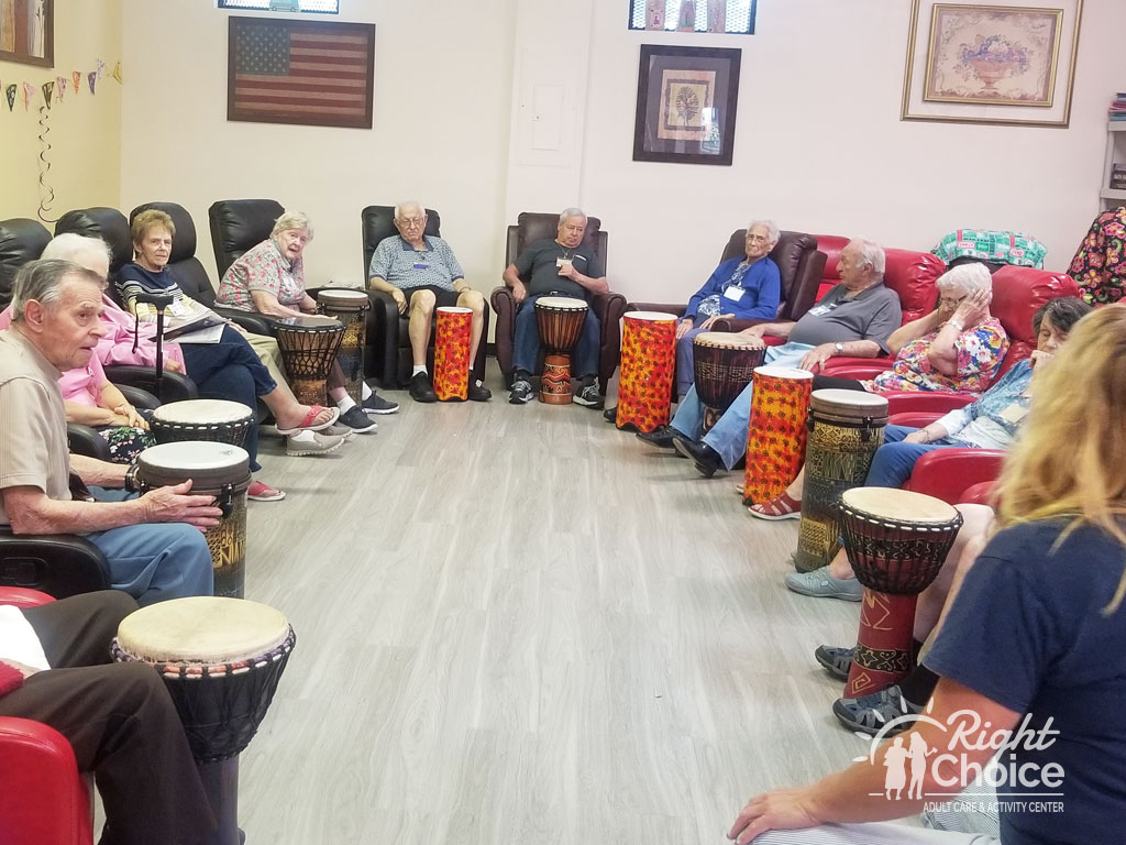drum-therapy-at-right-choice-adult-care