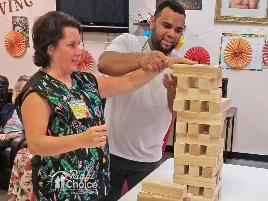 playing-jenga-at-right-choice-adult-care-center